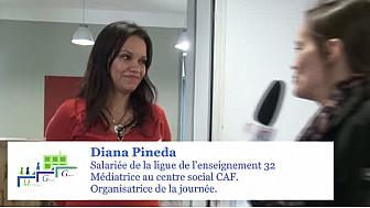 Marche Exploratoires Diana Pineda : salariée de la ligue de l'enseignement 32 et médiatrice au centre social CAF. Organisatrice de la journée.